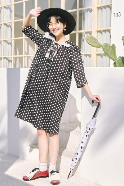 Nectarine Diary - DOT DRESS WITH BOW