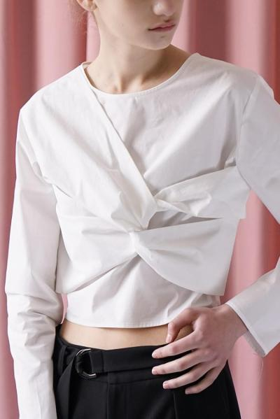 ZIJUE - CHEST BOWKNOT SHIRT